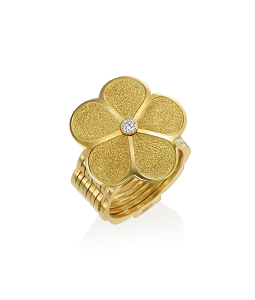 Gumuchian Hammered Daisy Ring Cycle, That converts into a Bracelet