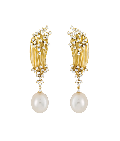 Hueb Diamond Pearl Earrings