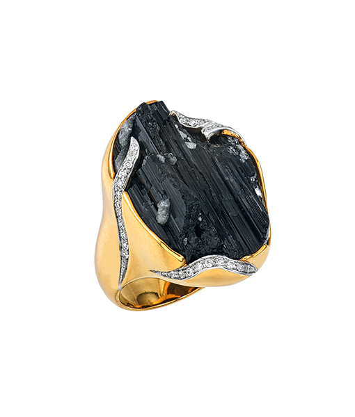 Jorge Adeler Black Tourmaline Diamond Ring