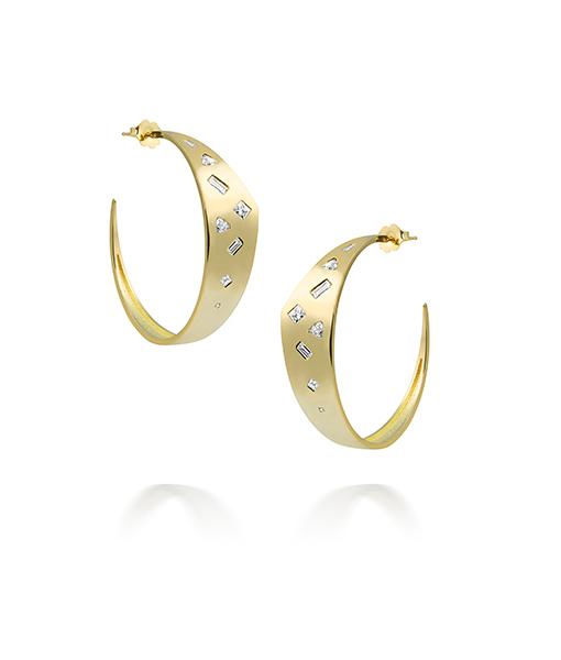Julez Bryant Tazz Triangle Hoop Earrings Diamonds