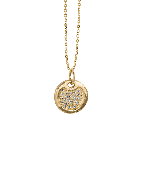 Julez Bryant Baby Round Dog Tag Pendant with pave diamonds