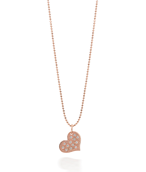 Julez Bryant Baby Rose gold Heart Pendant with pave Diamonds