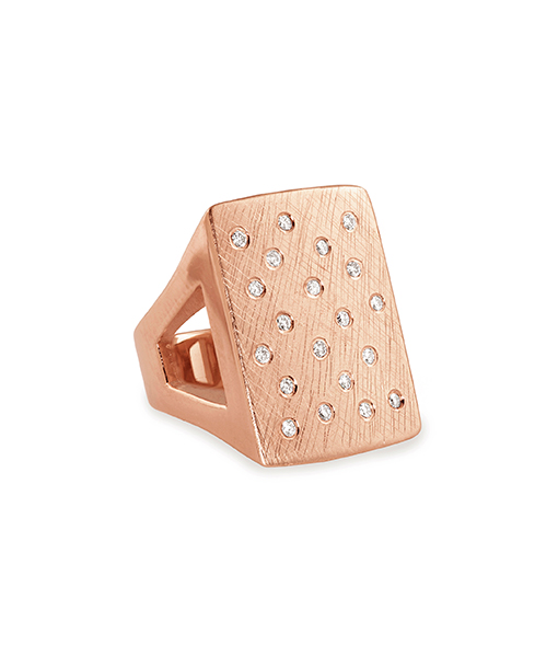 Julez Bryant Rectangular Block Ring with Diamonds