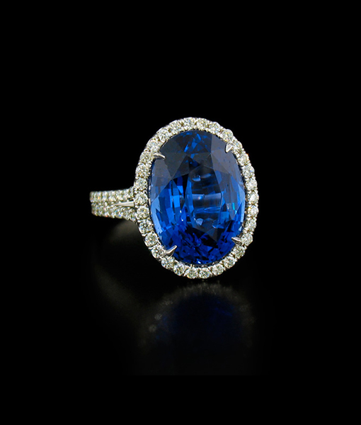 9.11ct Blue Sapphire and Diamond Ring