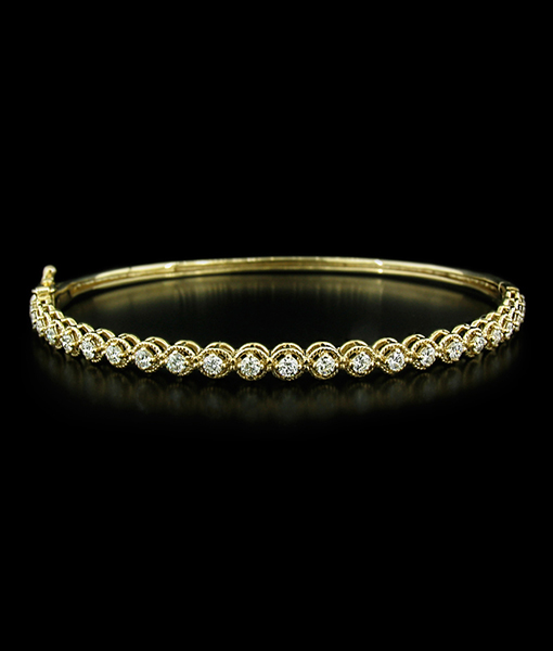 KC White Gold Hinged Bangle with Diamonds