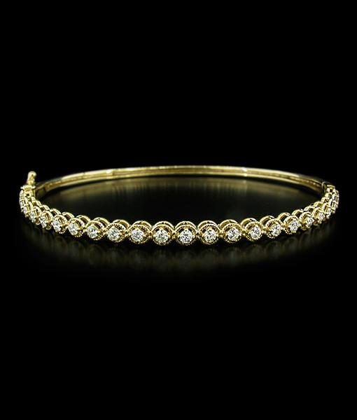 KC Yellow Gold Hinged Bangle with Diamonds