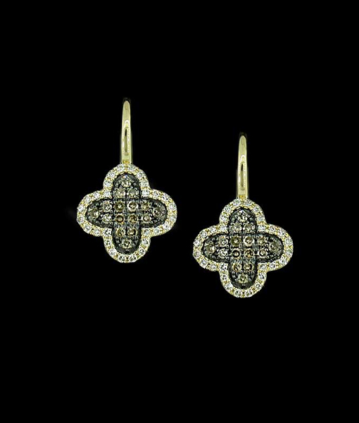 Clover Diamond Drop Earrings in Yellow Gold