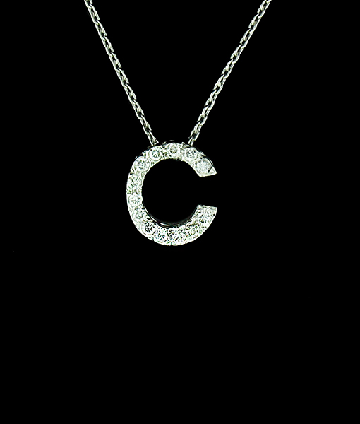 "KC ""C"" Diamond Initial Pendant"