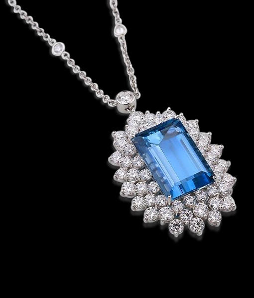 17.37 Carat Aquamarine Pendant with Diamonds