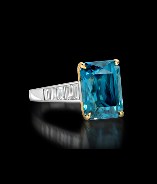 12.01 Carat Blue Zircon Ring with Diamonds by Krementz