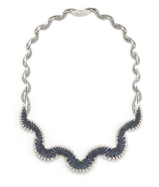 Miseno Ventaglio Necklace Diamonds Blue Sapphires