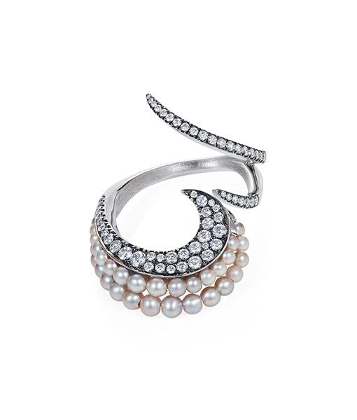 Mike Joseph Diamond Akoya Ring