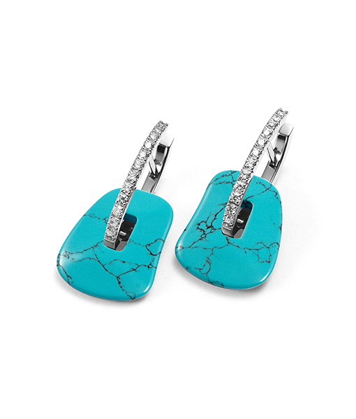 Mattiolli Puzzle Earrings in White Gold with Turquoise Drops