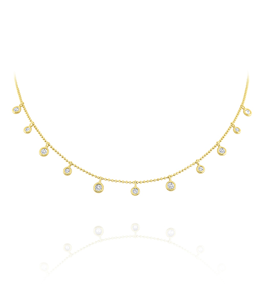 Kc 9 stone Diamond Spacing Drops necklace