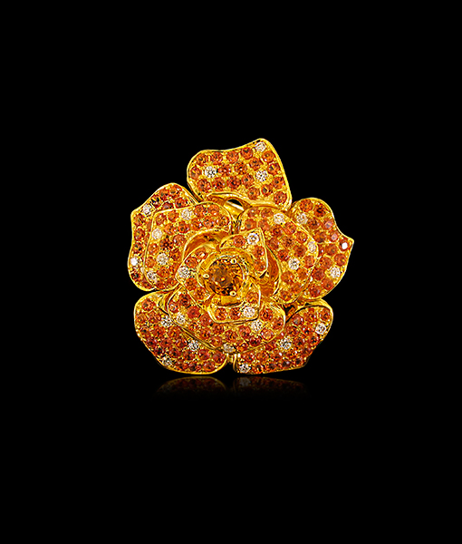 Nini Orange Sapphire Diamond Ring