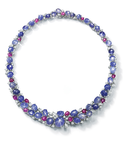 Oscar Heyman Blue Star Sapphires and Ruby Necklace with Diamonds
