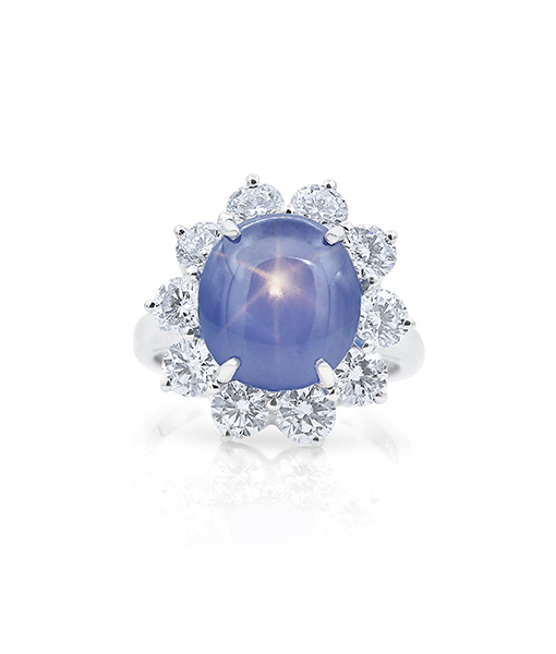 Oscar Heyman Blue Star Sapphire and Diamond Ring