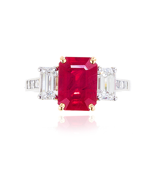 Oscar Heyman Burmese Ruby and Diamond Ring