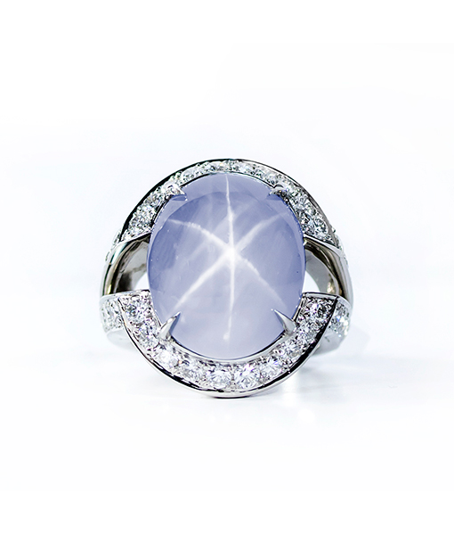 Oscar Heyman Star Sapphire and Diamond Ring