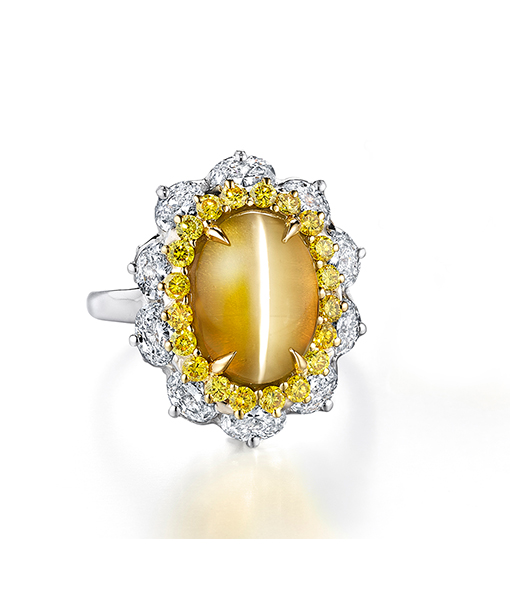 Oscar Heyman Cat's Eye Chrysoberyl and Diamond Ring
