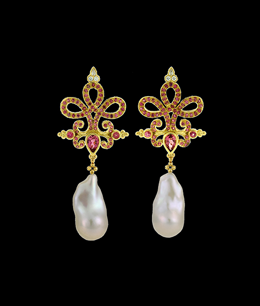 Paula Crevoshay Tourmaline and Diamond Earring Tops
