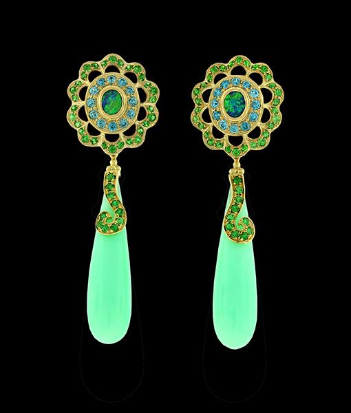Paula Crevoshay Opal and Blue Zircon Earrings Tops