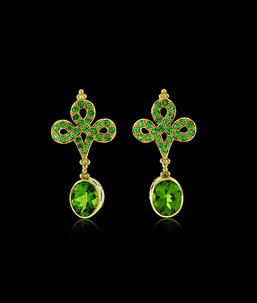 Paula Crevoshay Tsarovite Earring Tops with Peridot Drops