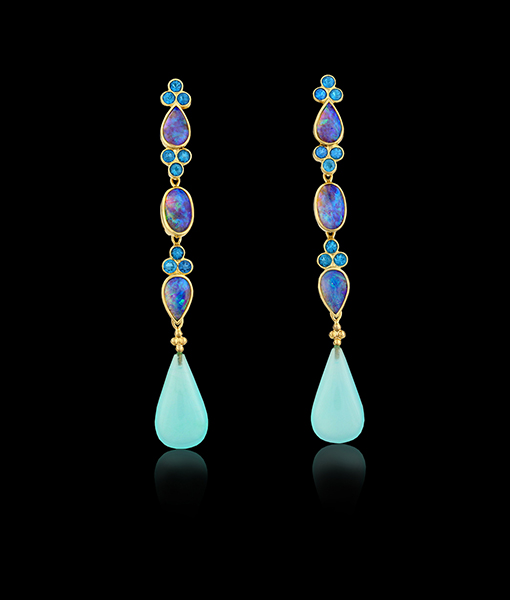 Paula Crevoshay Opal and Apatite Earrings