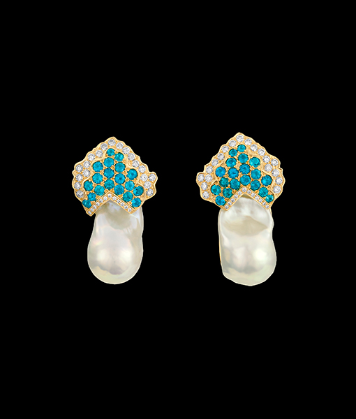 Paula Crevoshay Apatite, Pearl and Diamond Earrings