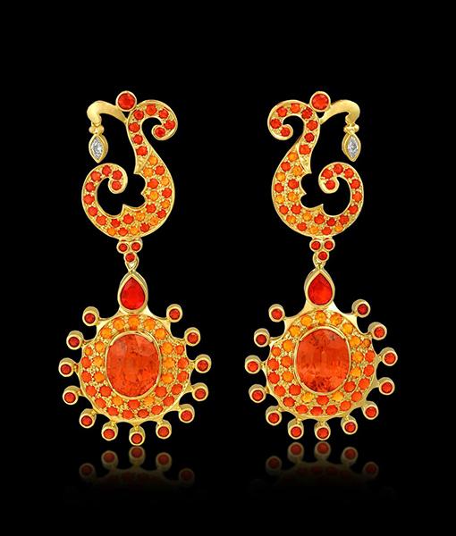 Phoenix Rising Fire Opal Earrings by Paula Crevoshay