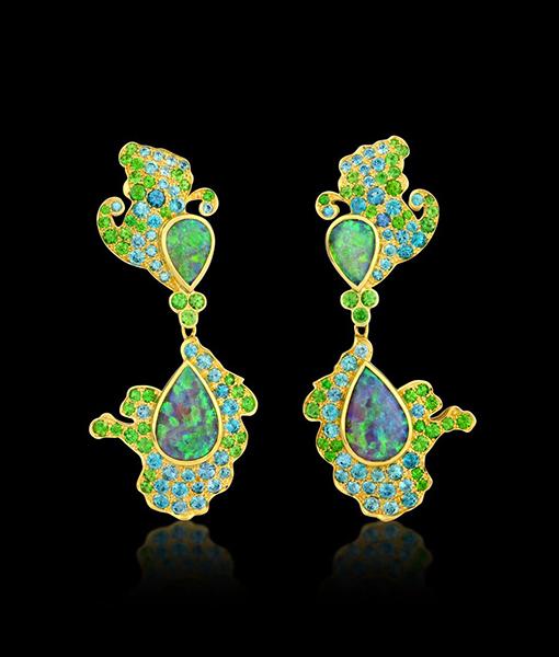 Paula Crevoshay Crystal Opal Blue Zircon and Tsavorite Earrings