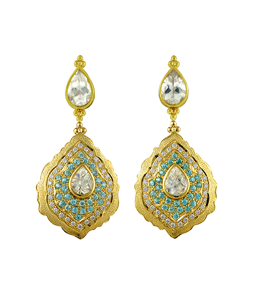 Paula Crevoshay Moonstone & Blue Zircon Diamond Earrings