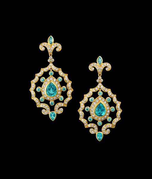 Paula Crevoshay Zircon Earring Tops with Diamond and Emerald Earring Drops
