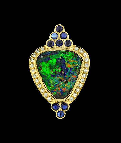 Paula Crevoshay Boulder Opal and Sapphire Pendant