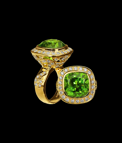 Paula Crevoshay Tourmaline and Diamond Ring