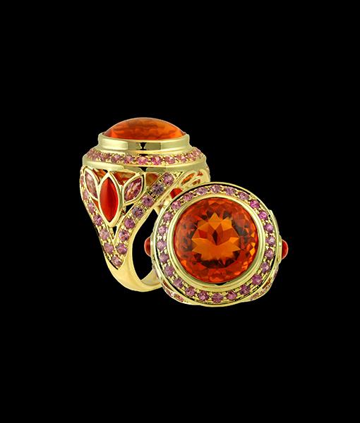 Paula Crevoshay Opal and Pink Sapphire Ring