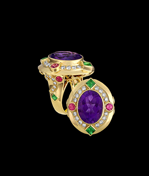 Paula Crevoshay Amethyst, Tsavorite and Diamond Ring