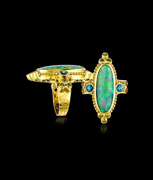 Paula Crevoshay Opal and Sapphire Ring