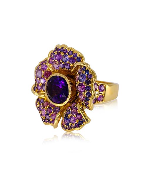 Paula Crevoshay Amethyst and Sapphire Ring