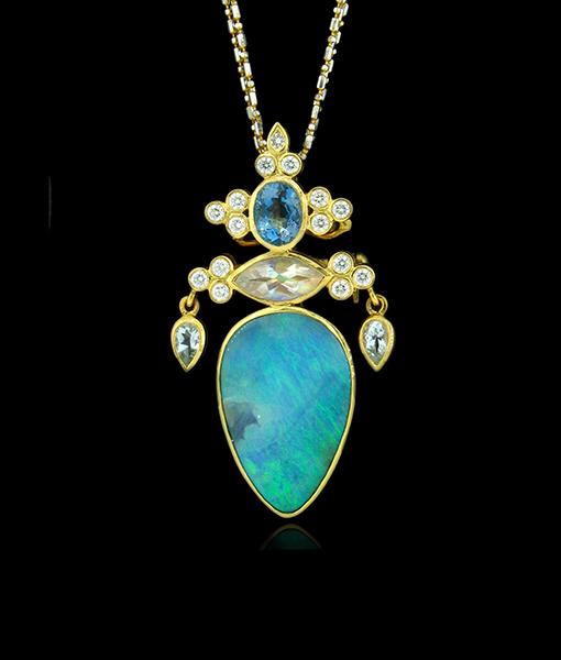 Paula Crevoshay Boulder Opal Pendant