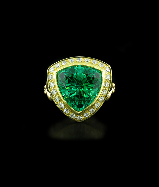 Paula Crevoshay Trillion Tourmaline and Diamond ring