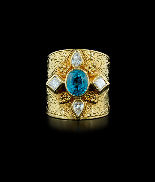 Cambodian Blue Zircon Ring