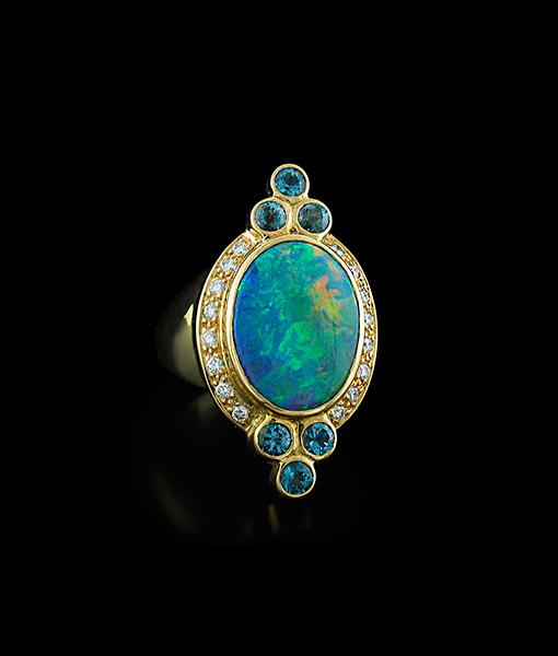 Paula Crevoshay Oval Black Opal Ring with Blue Zircon