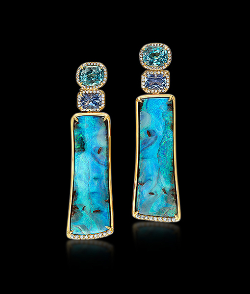 Pamela Huizenga Boulde Opal, Sapphire and Blue Zircon Earrings