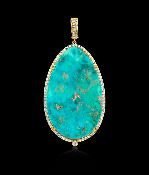 Pamela Huizenga Arizona Turquoise and Diamond Pendant