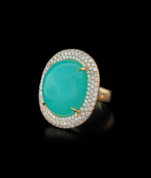 Pamela Huizenga Chrysoprase and Diamond Ring