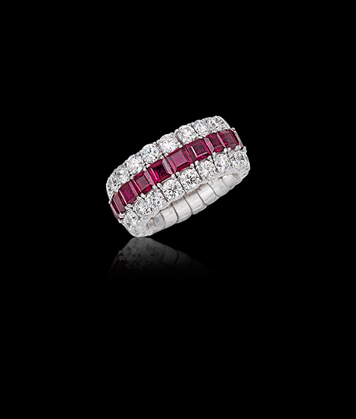 Picchiotti Xpandable Diamond and Ruby Ring