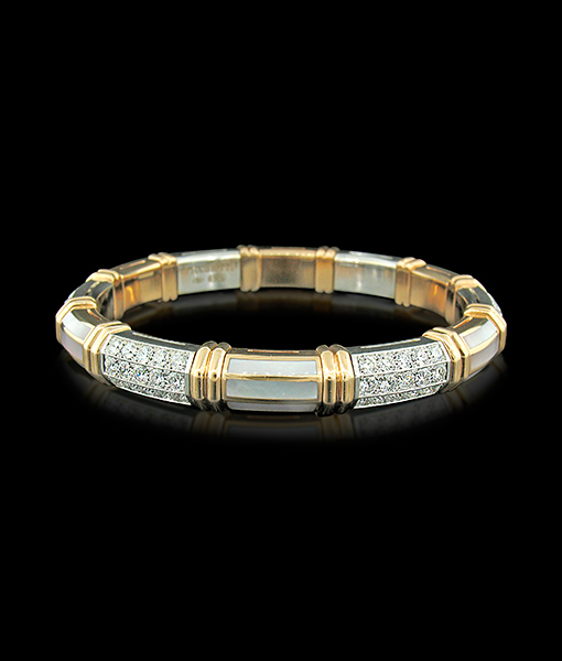 Picchiotti White Mother of Pearl and Diamond Expanding Bracelet