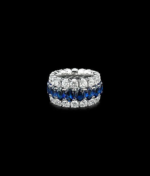 Picchiotti Xpandable Sapphire and Diamond Band