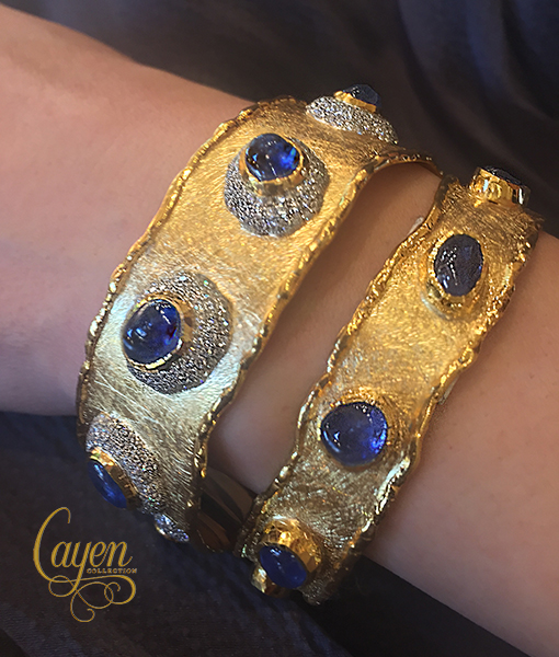 Victor Velyan Burmese Blue Sapphire and Diamond Cuff